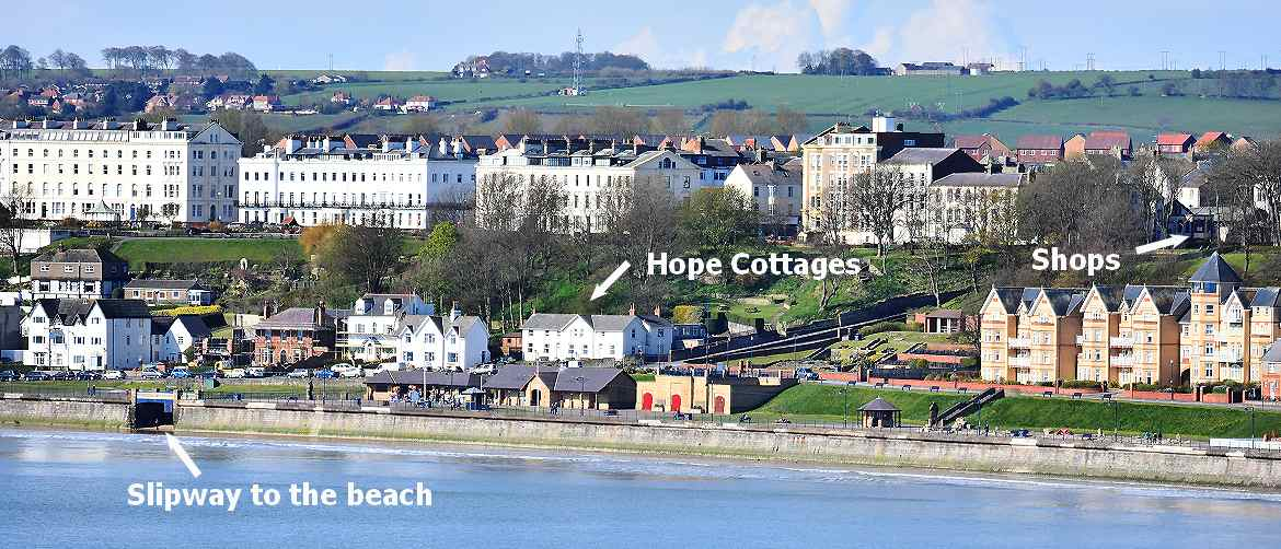 Hope cottages seafront position