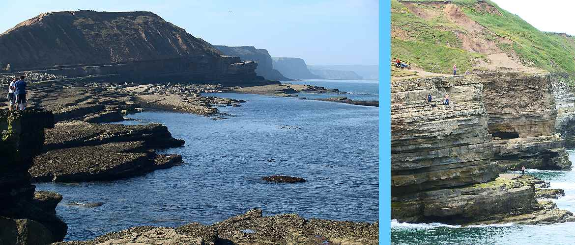 Filey Brig: pictures end and back looking to Scarborough.