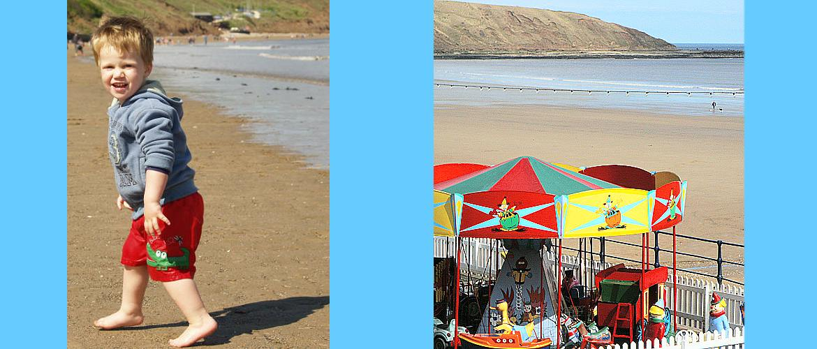 Filey beach with kid and roundabout